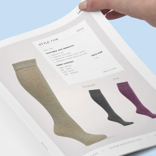 Project preview for Cameo Socks product catalog design.