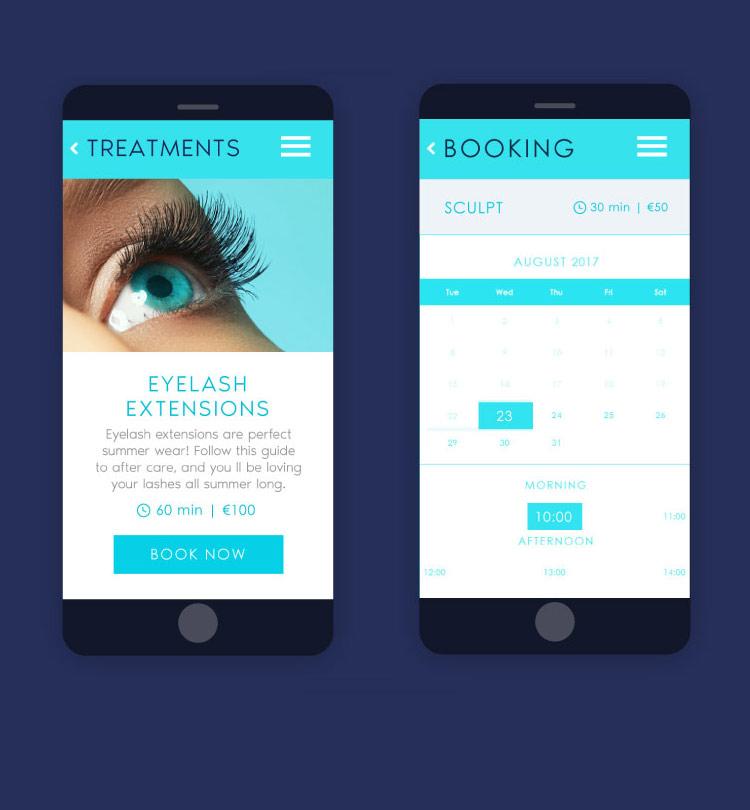 Spa salon website design mobile version