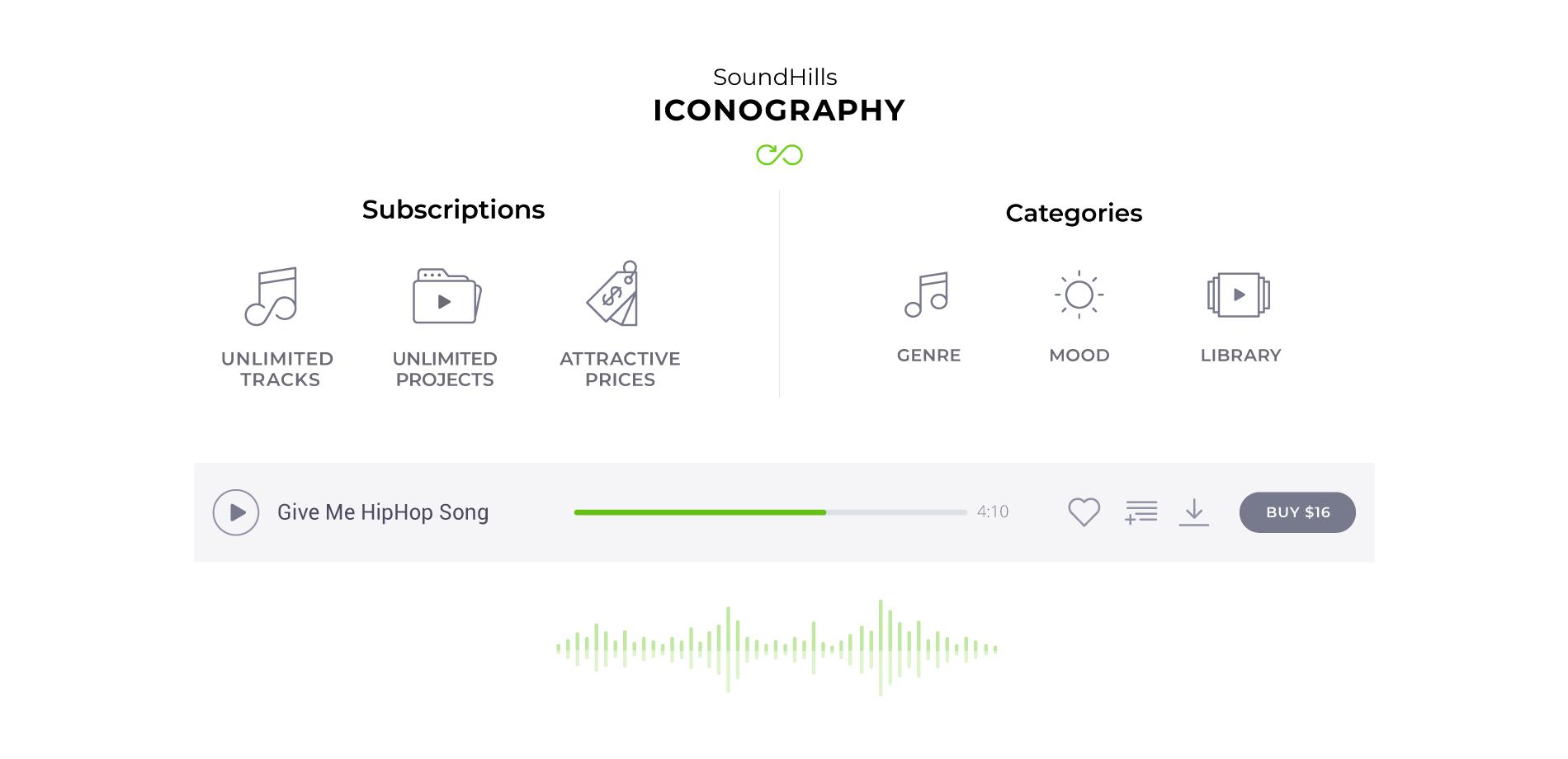 music website custom icons design