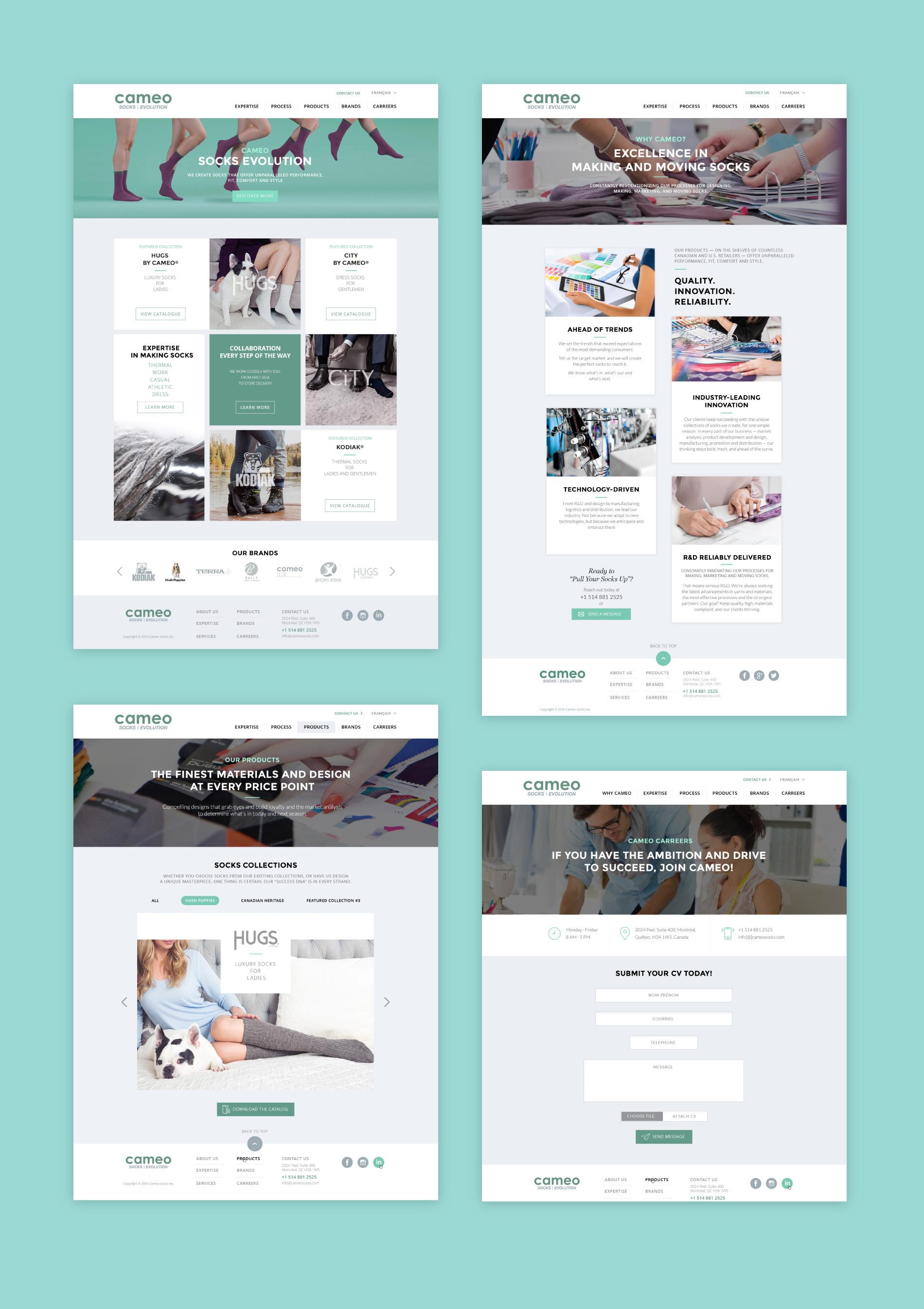 socks manufacturer website design pages