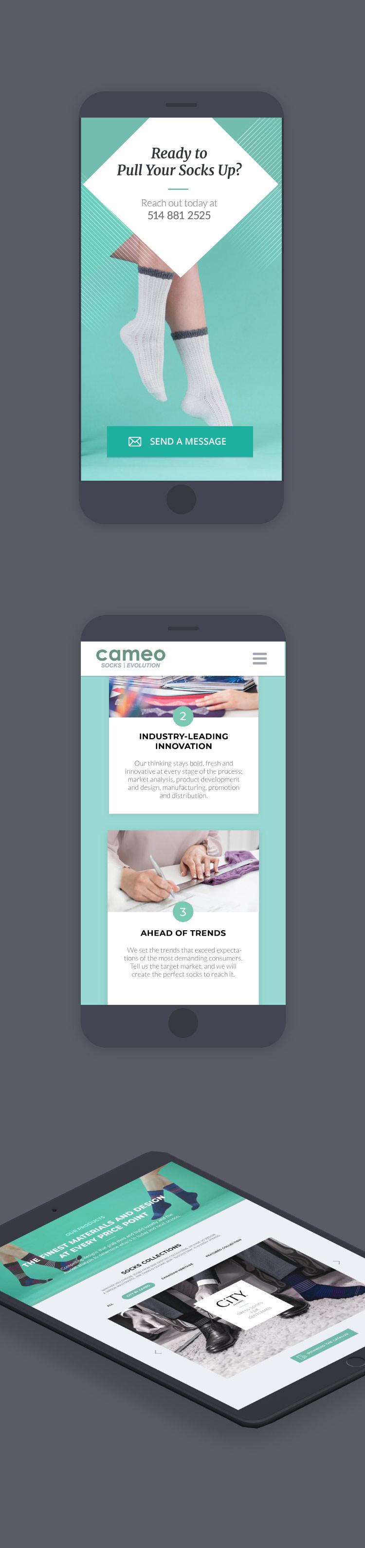 socks manufacturer website mobile version design