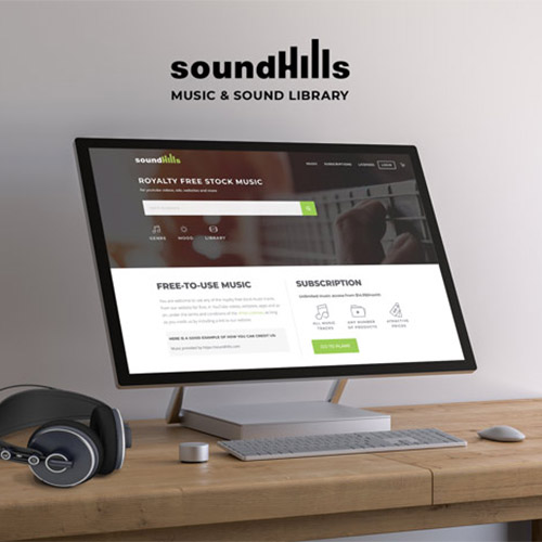 Visual identity and website design for SoundHills – royalty-free stock music library