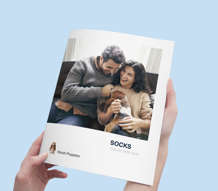 Hush Puppies socks catalog cover