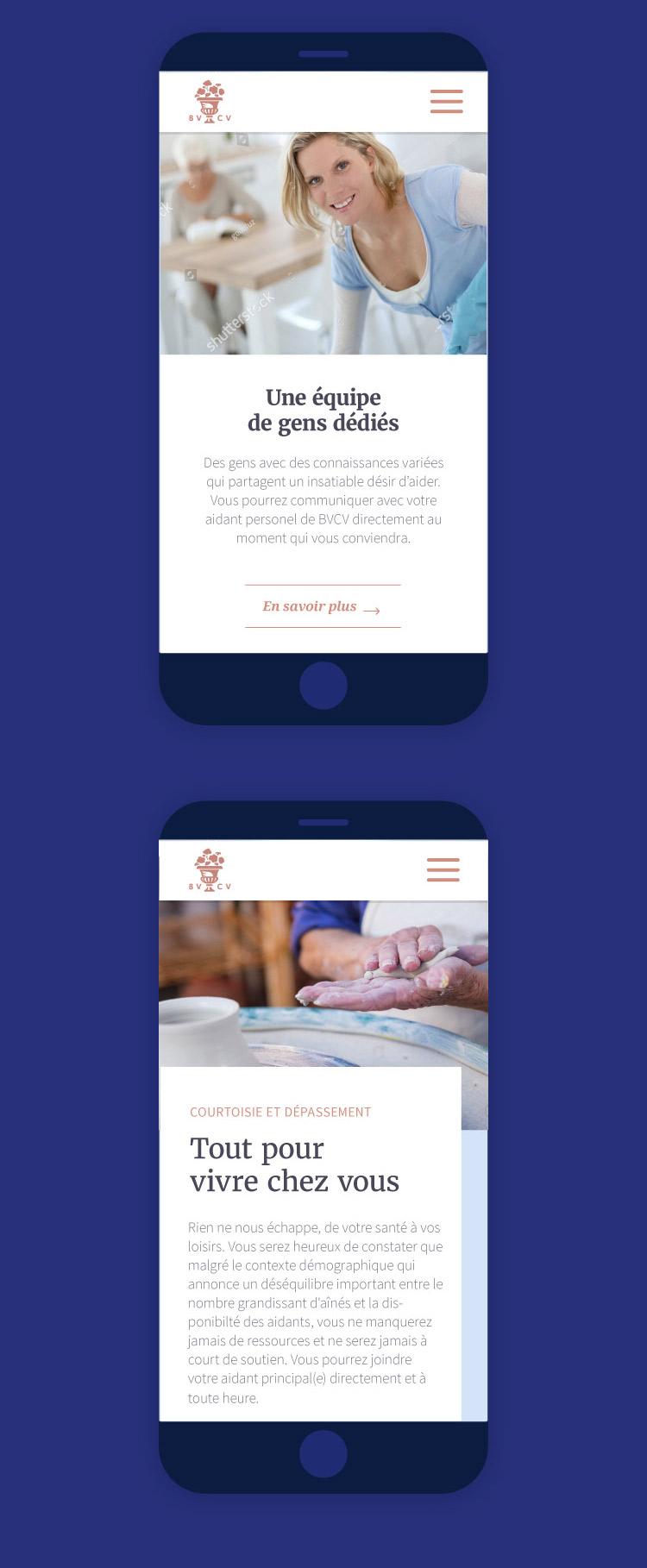 Senior home care service website design: mobile version