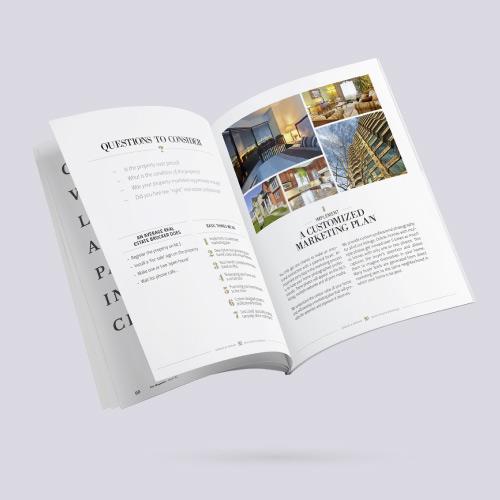 Conception et mise en page de brochures pour le secteur immobilier. Aperçu de projet