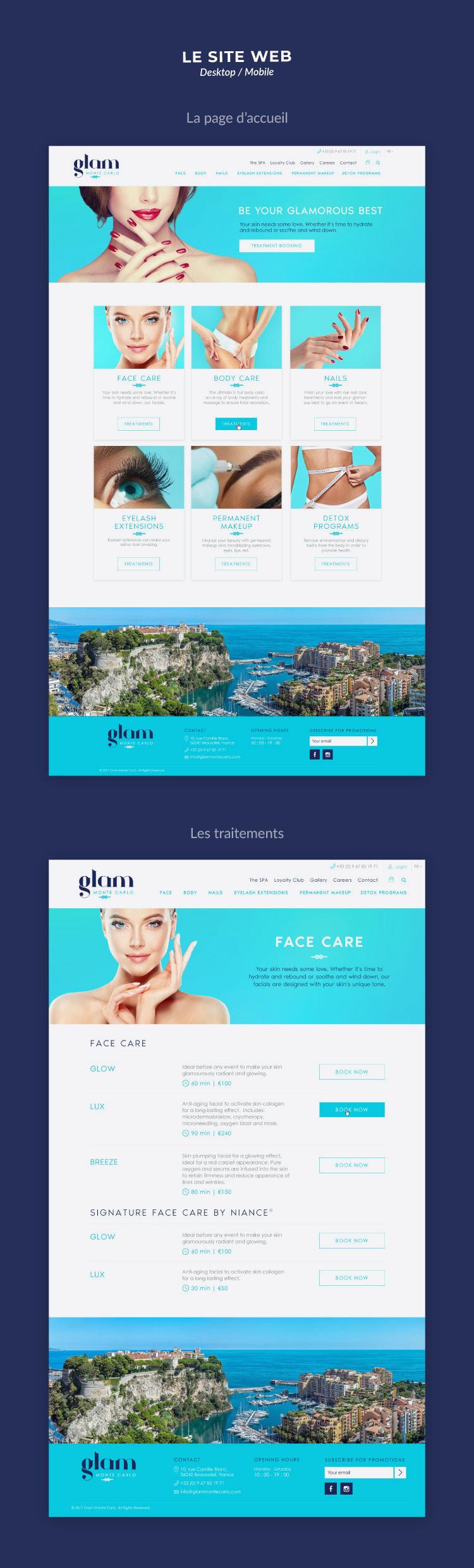 Conception du site web Glam Monte Carlo (clinique de soins médico-esthétiques)