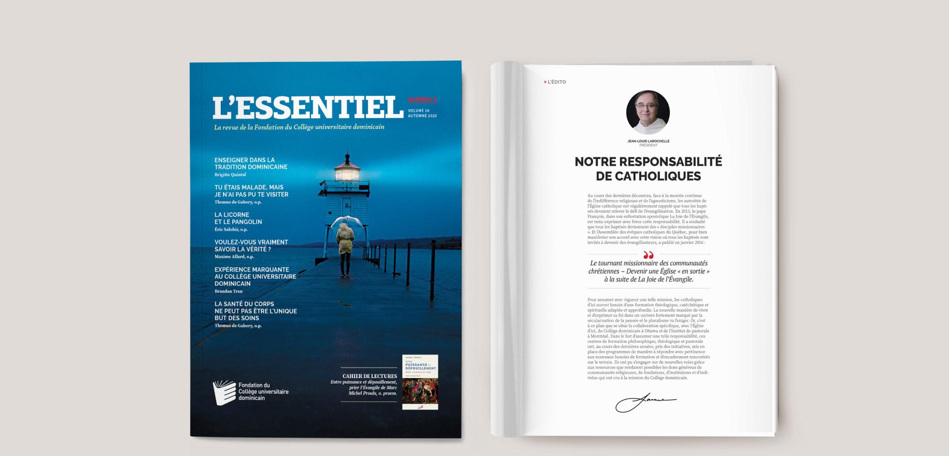 Conception de la revue L'Essentiel : couverture
