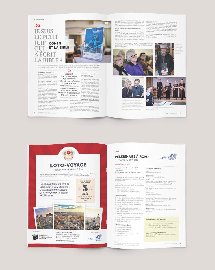 Conception et mise en page de la revue L'Essentiel: pages intérieures