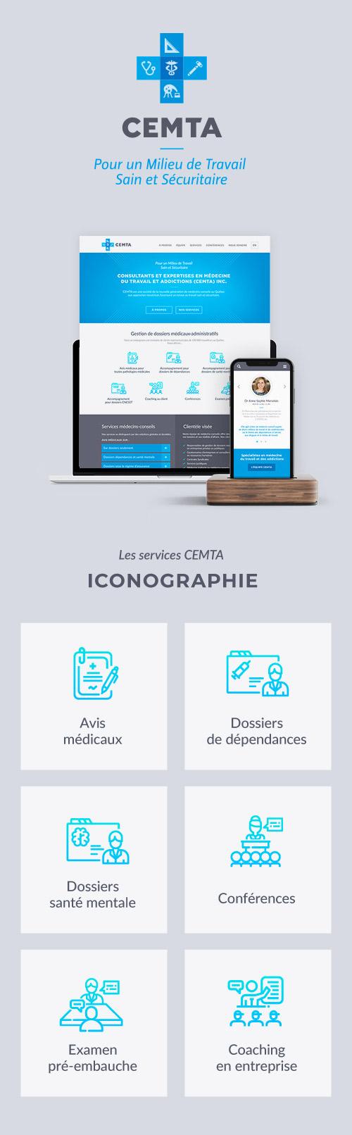 Conception des icônes personnalisées CEMTA : Consultants en médecine du travail