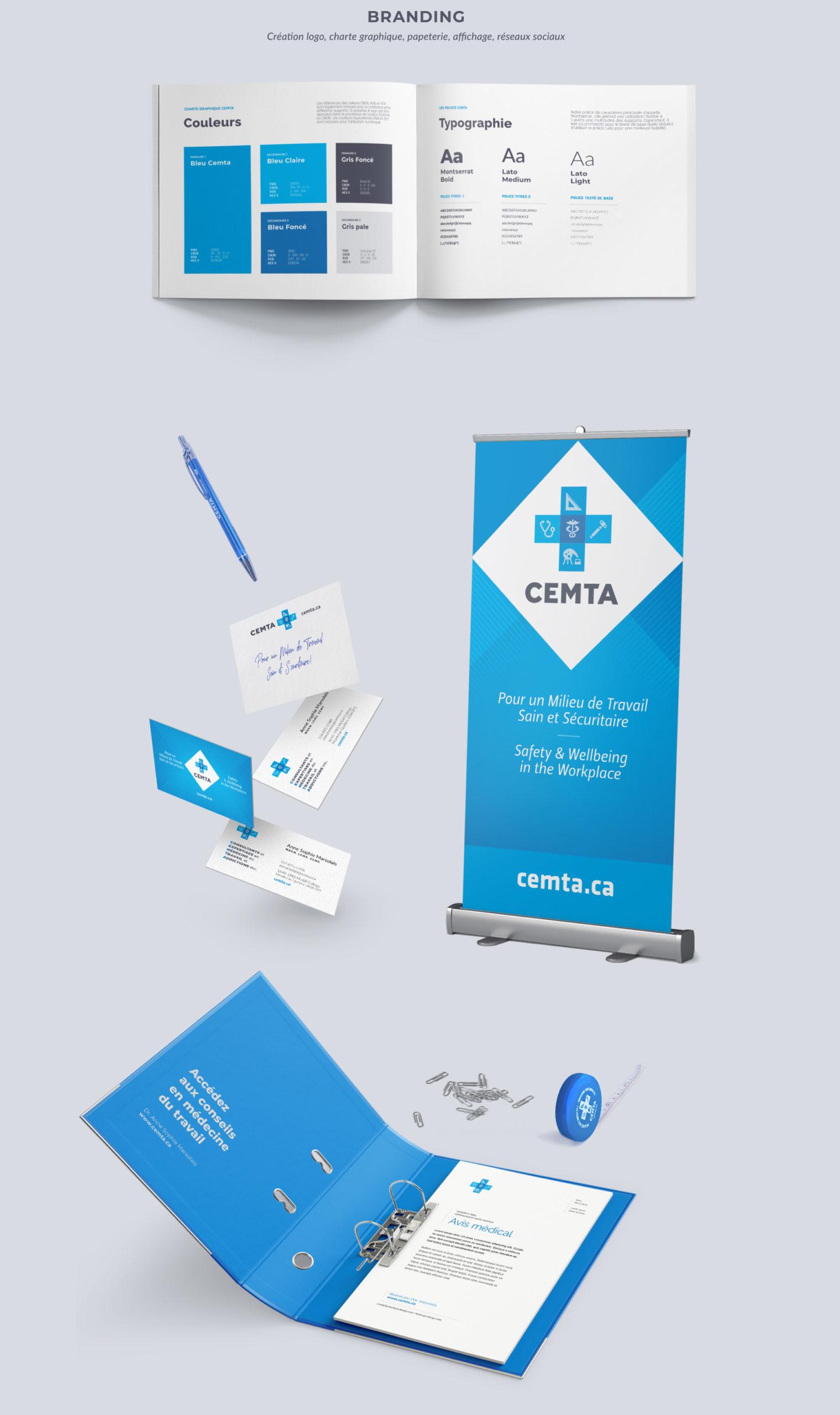 Identité visuelle CEMTA – consultants en médecine du travail : logo, papeterie, charte graphique, bannière.