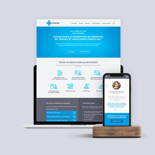 Conception du site web et de l'identité visuelle des consultants en médecine du travail et addictions CEMTA. Aperçu de projet