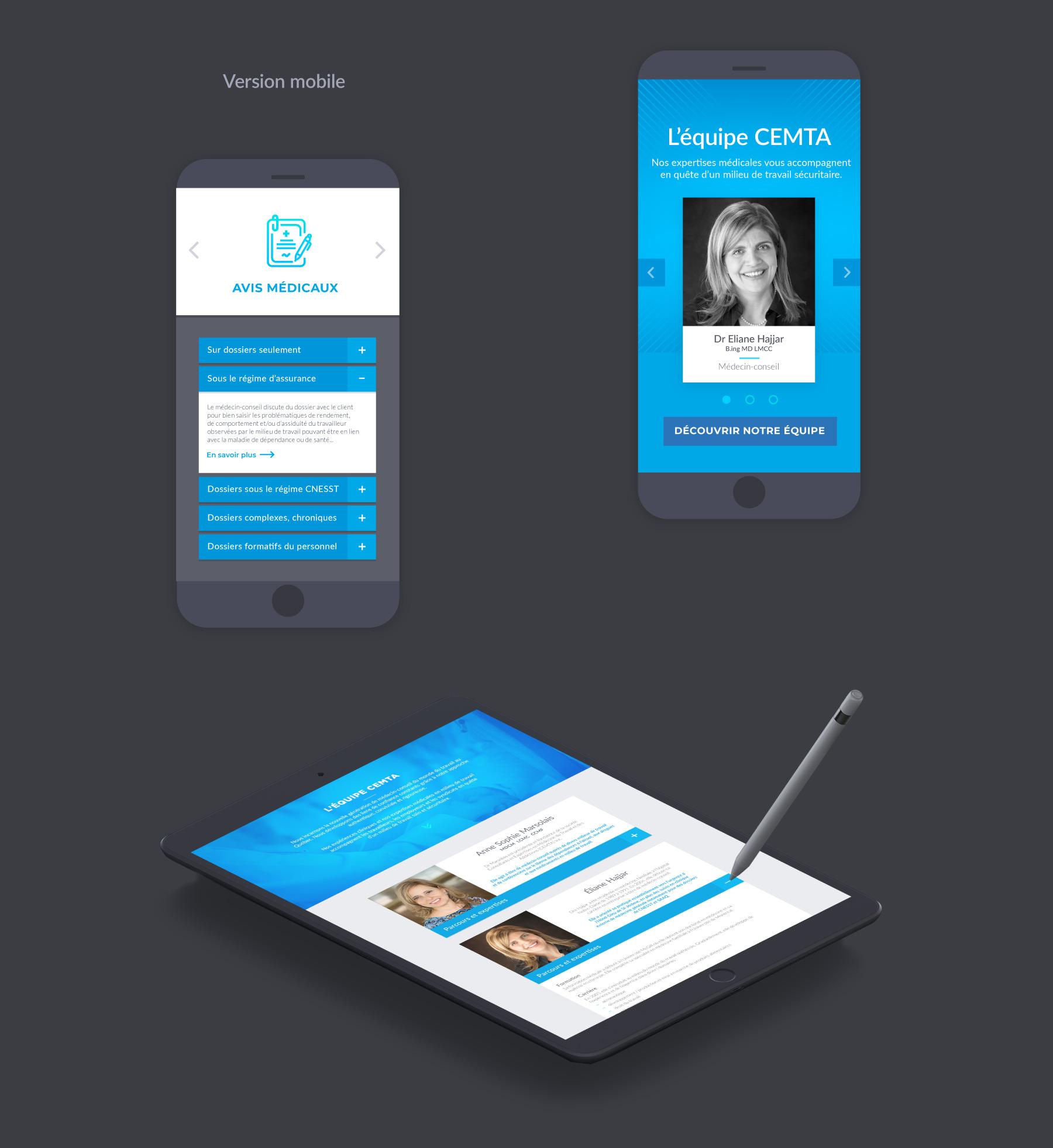 Version mobile du site web CEMTA : Consultants en médecine du travail