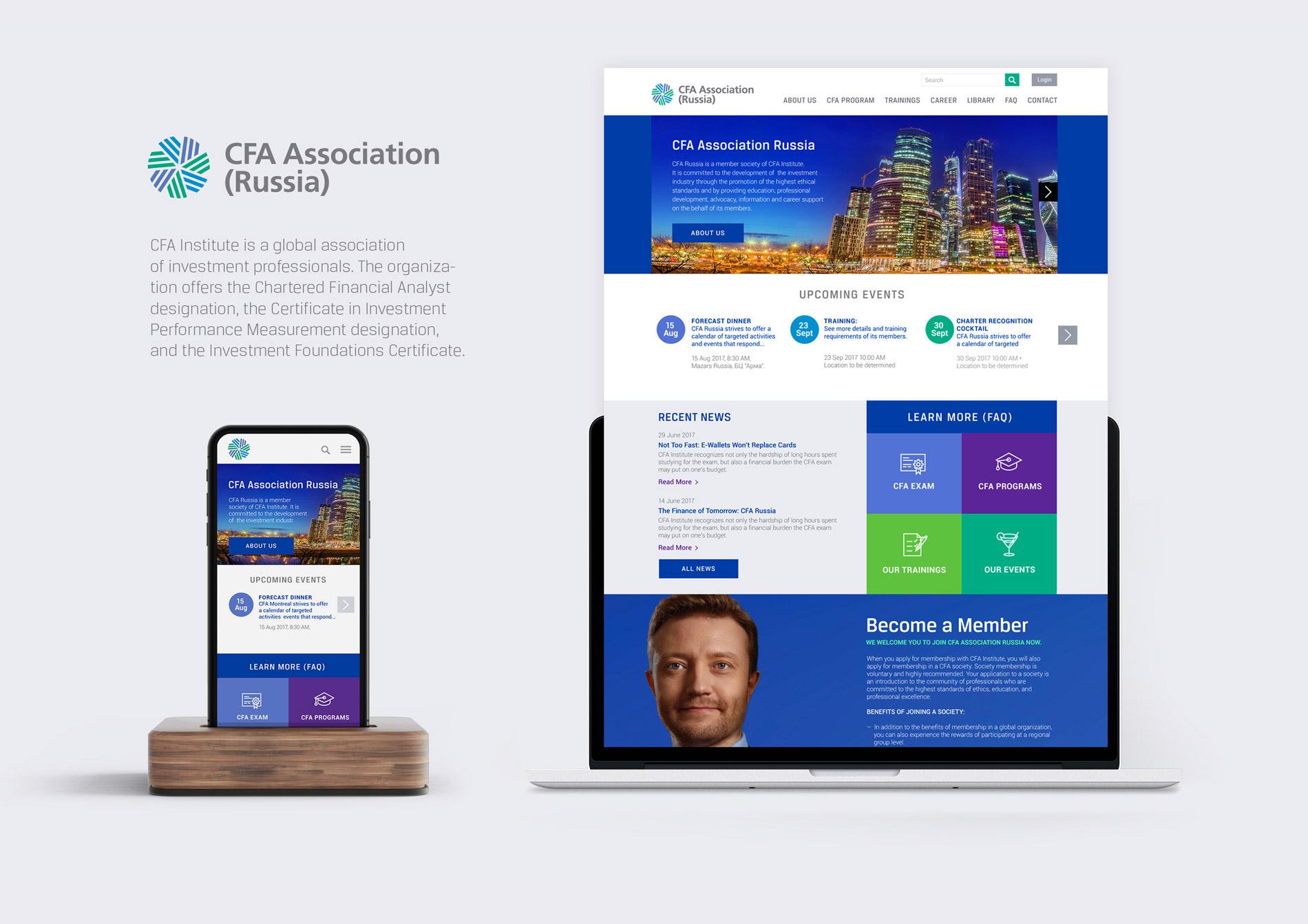 Conception du site web CFA Association : finance et investissement