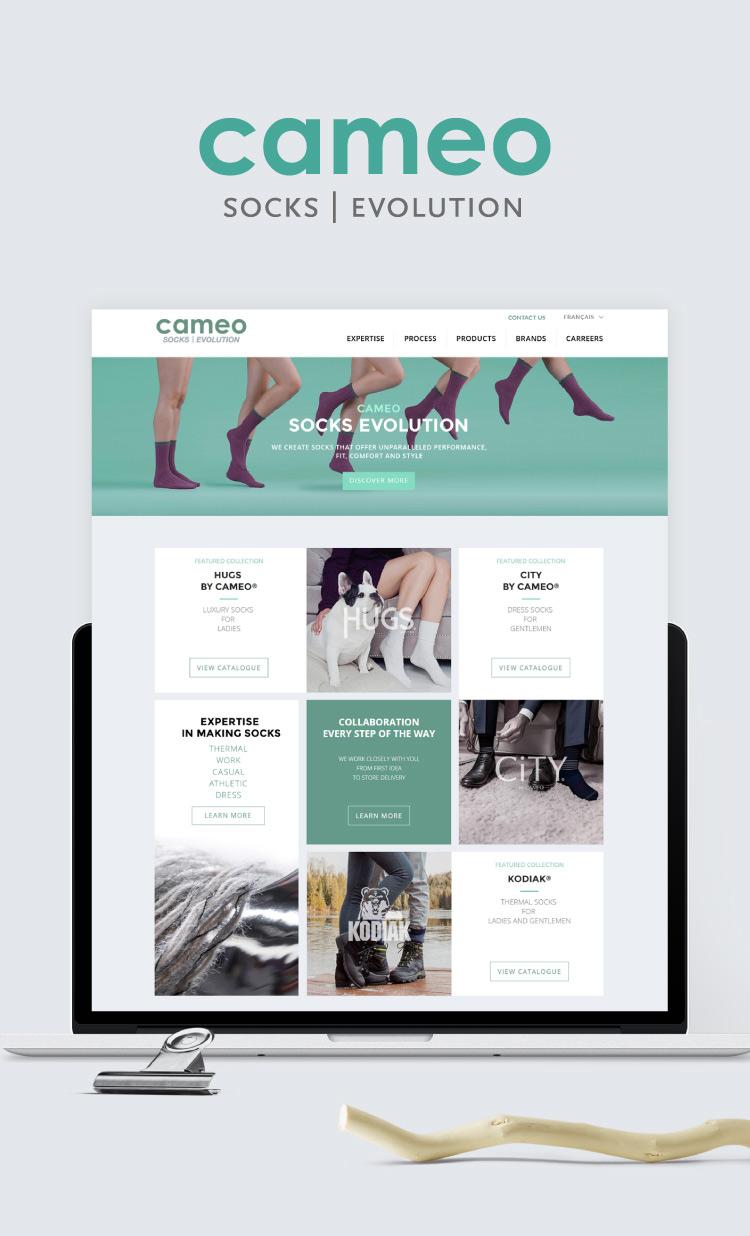 Design du site web du manufacturier de chaussettes Cameo Socks