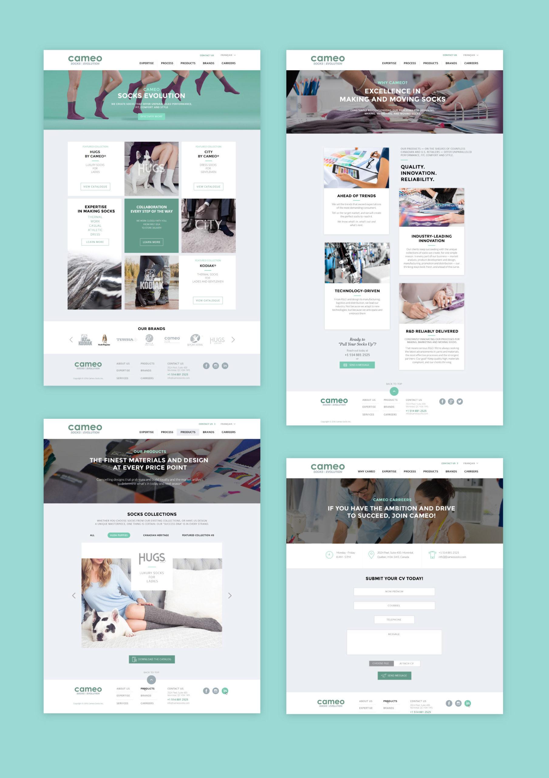Les maquettes du site web Cameo Socks