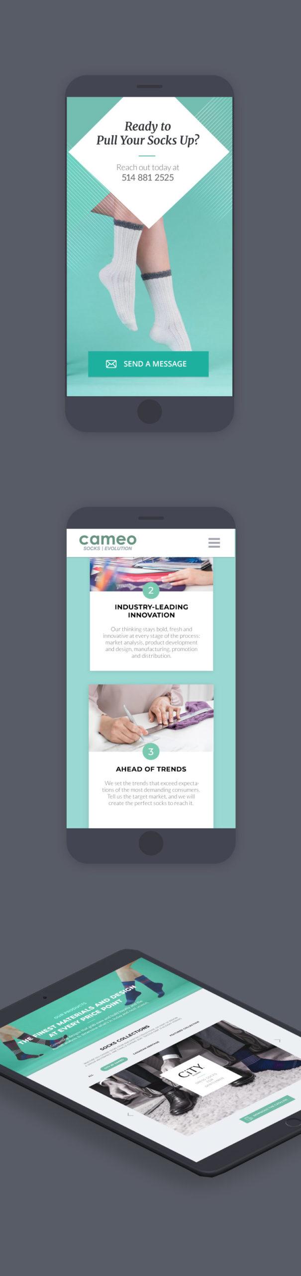 Version mobile du site web Cameo Socks
