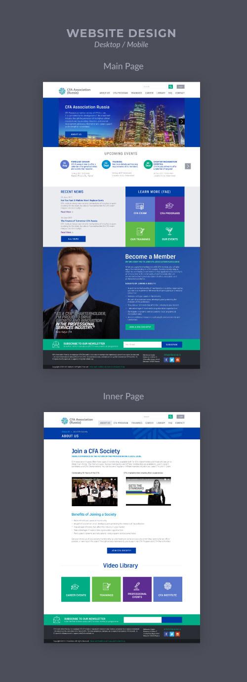 Maquettes des pages web de CFA Association : finance et investissement