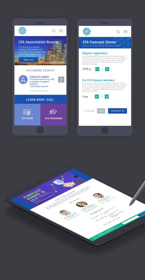 Version mobile du site web CFA Association : finance et investissement