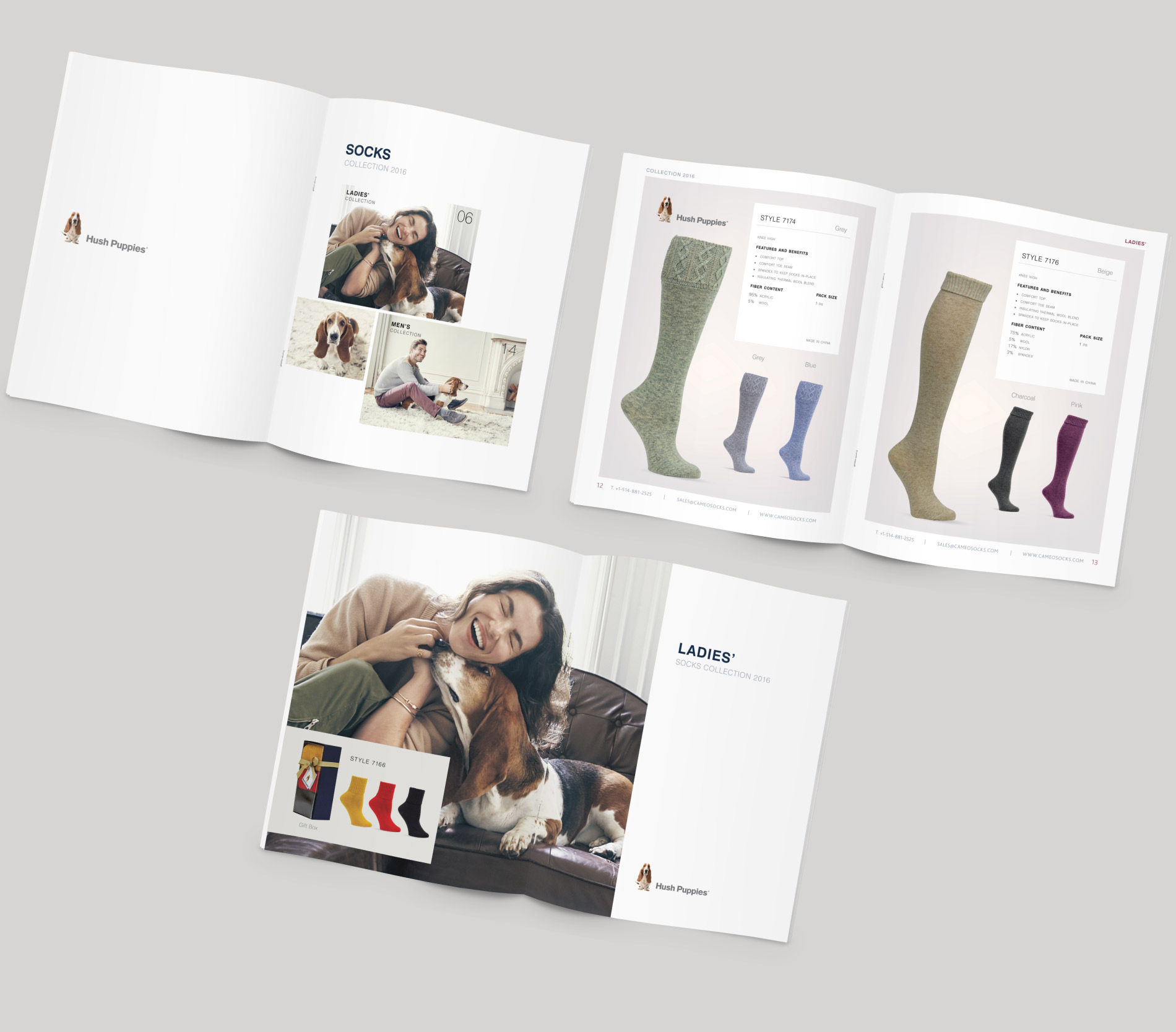 Conception du catalogue de chaussettes et bas Hush Puppies