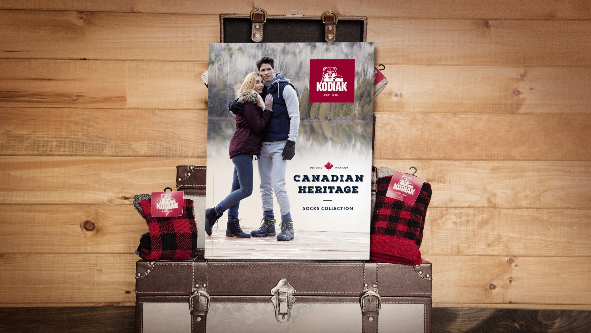 Couverture du catalogue de chaussettes et bas Kodiak : Canadian Heritage