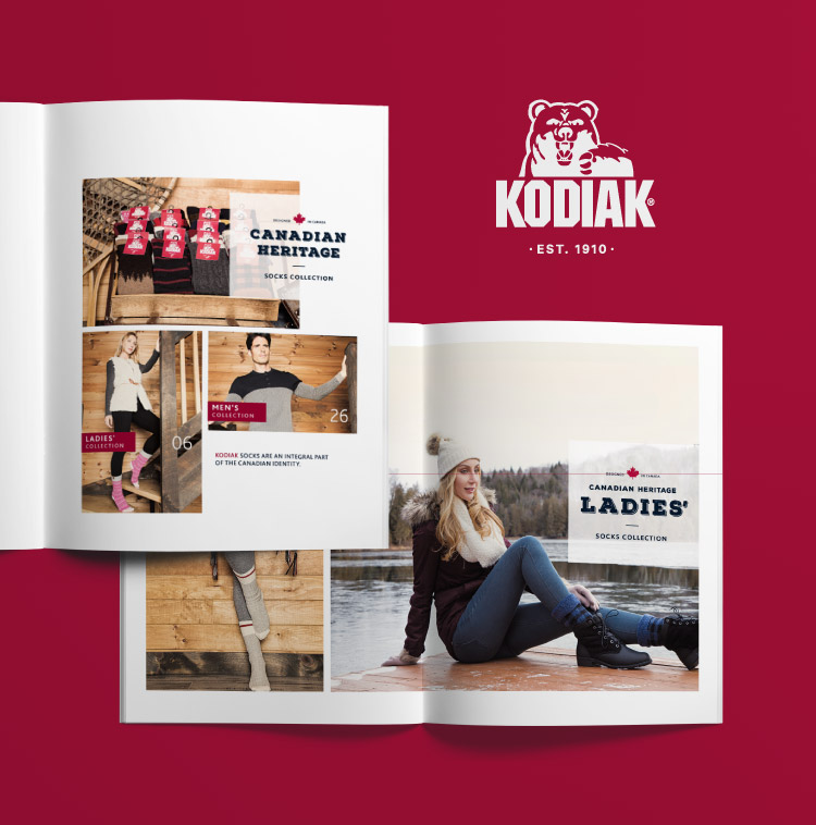 Conception du catalogue de chaussettes et bas Kodiak : Canadian Heritage