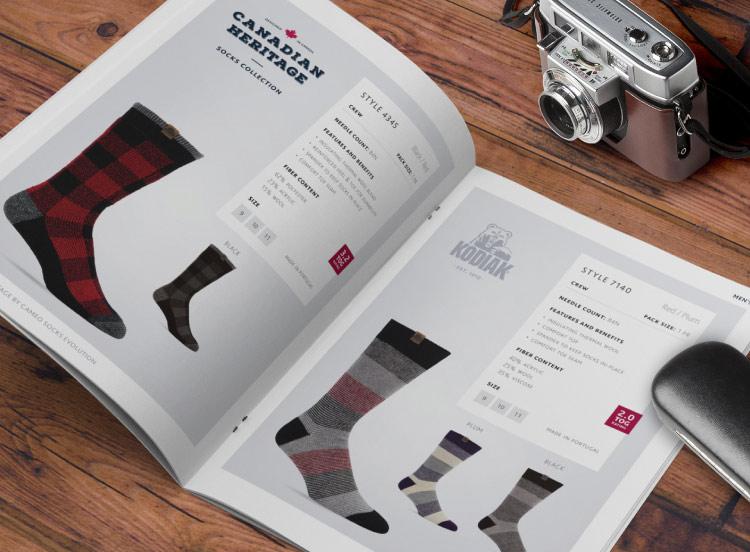 Page produit du catalogue de chaussettes et bas Kodiak : Canadian Heritage