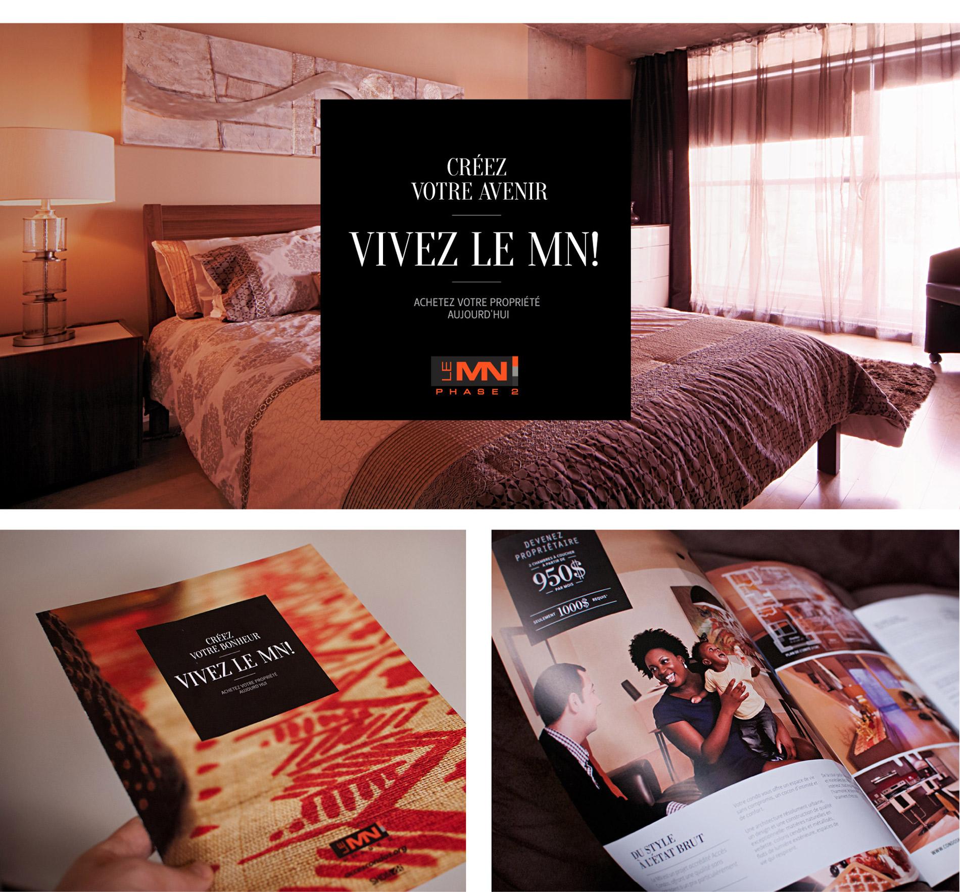 Dépliant promo du projet immobilier MN2 : condos à Montréal
