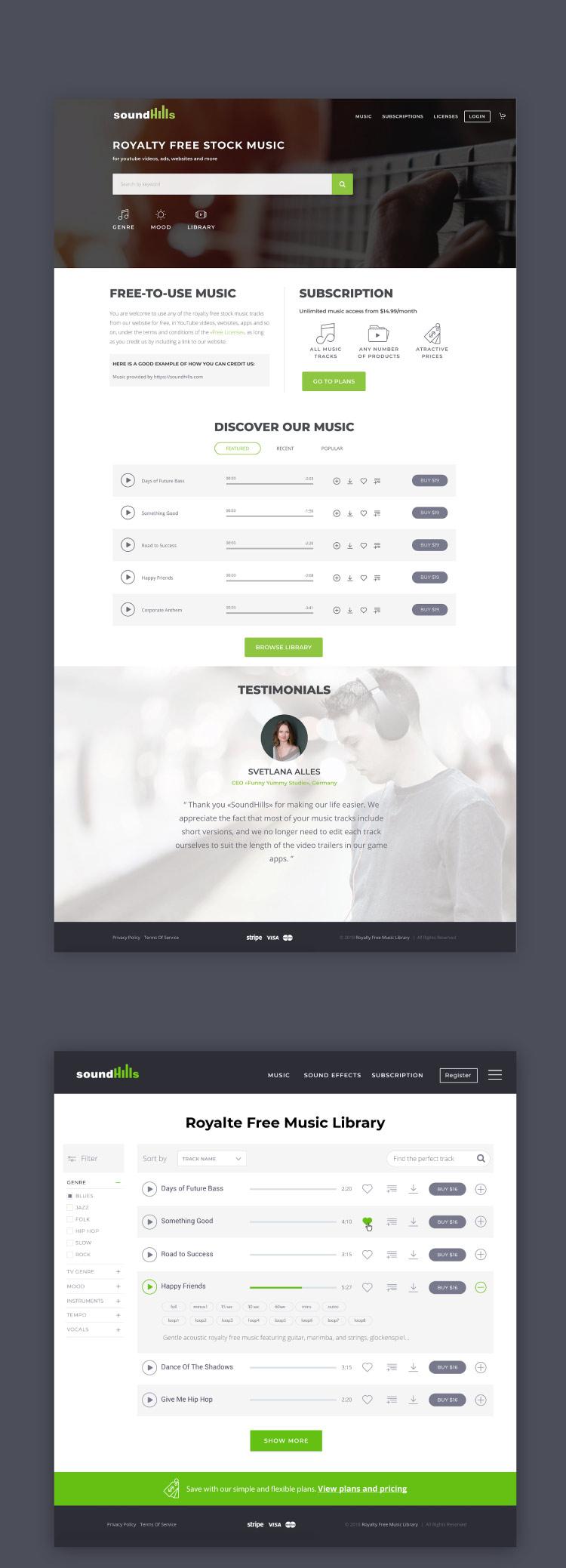 Design du site web SoundHills : page d'accueil