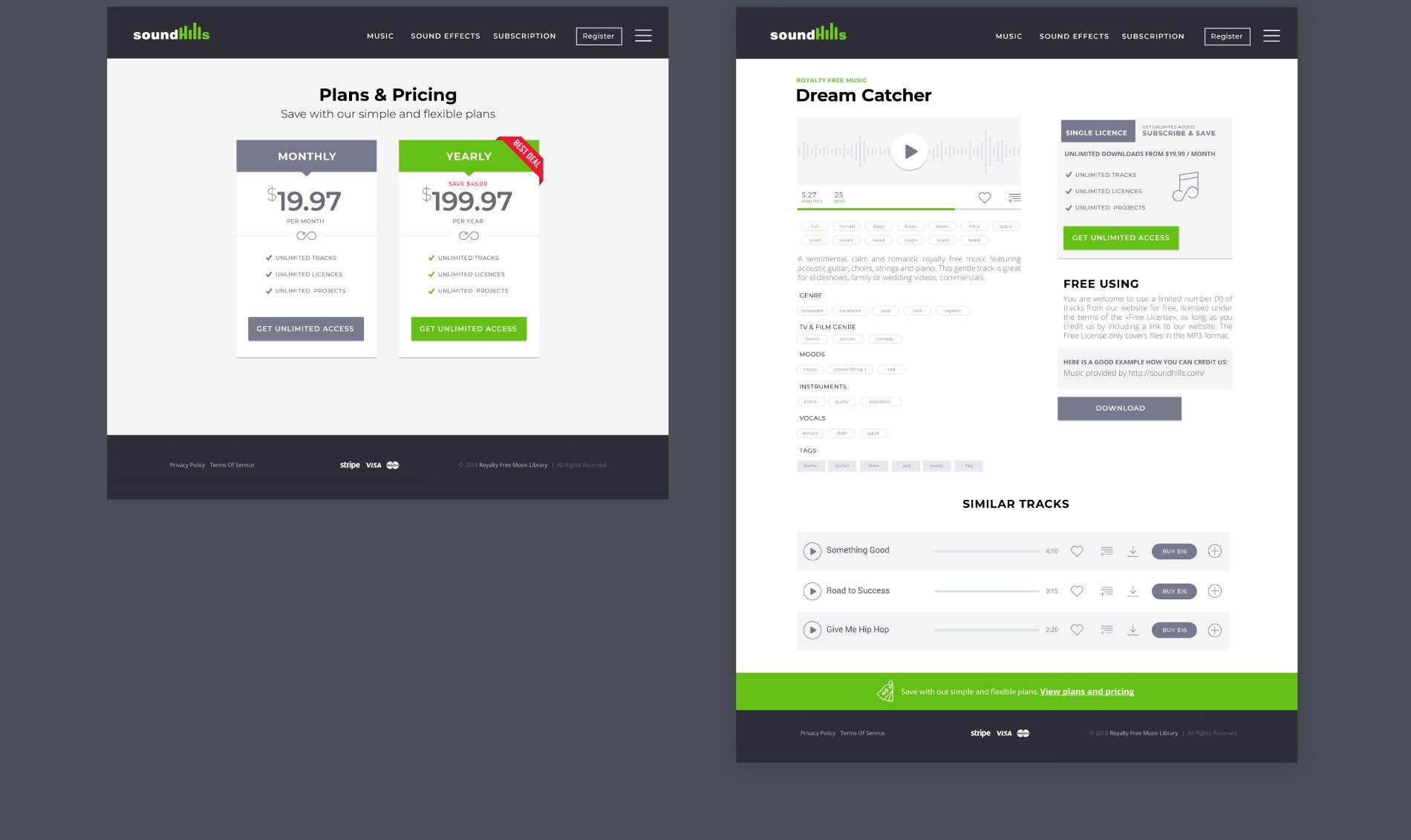 Design du site web SoundHills : pages produits et tarifs