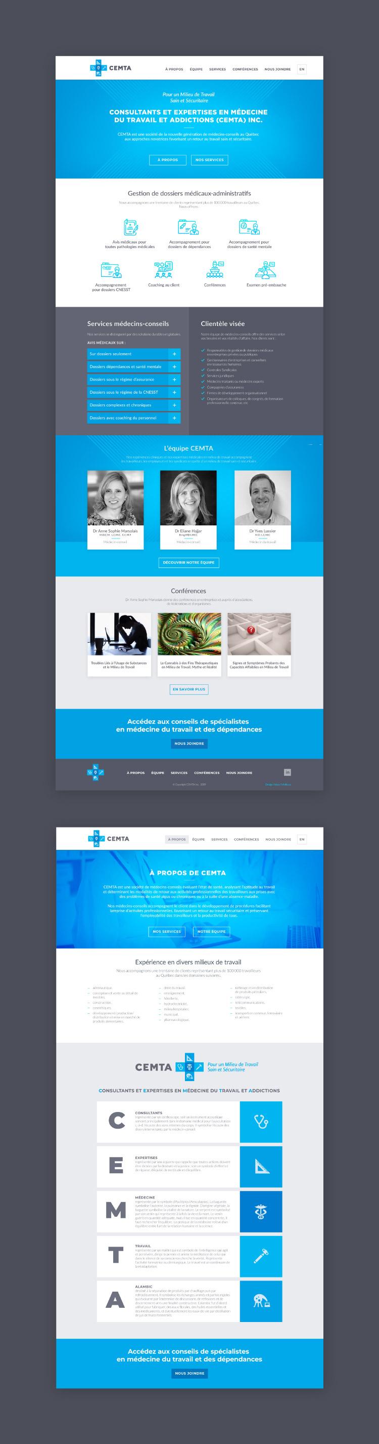 Conception du site web CEMTA : Consultants en médecine du travail