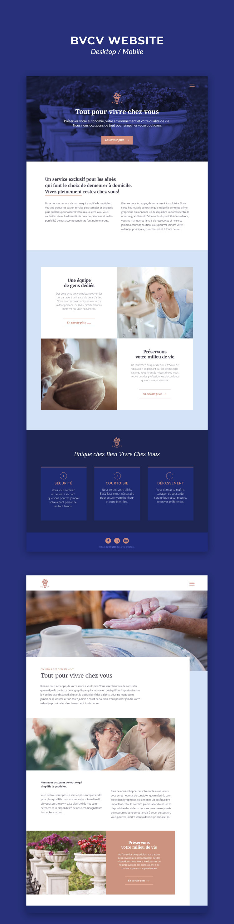 Conception du site Web BVCV - version desktop