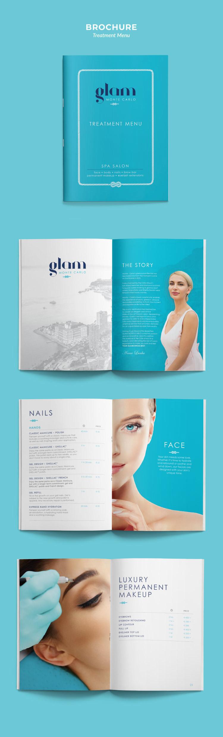 Conception de brochure pour Glam Monte Carlo (clinique de soins médico-esthétiques)