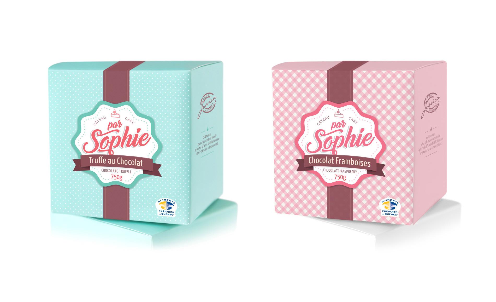 Design emballage / étiquettes pour les gâteaux ParSophie (Pâtisserie Jessica)