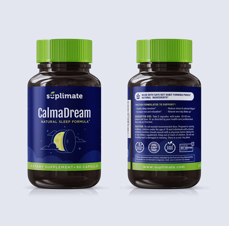 Design emballage / étiquette Calma Dream - calmant et somnifère