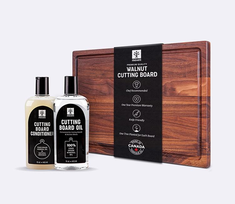 Conception emballage Mevell - planches à découper et produits d'entretien du bois